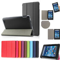For Amazon 2016 Kindle Fire HD8 Folding PU Leather Cover Smart Case Nice