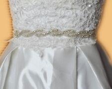 Accessoire mariage,Ceinture robe de mariée satin blanc, perles et strass argenté