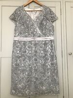 Fab! JACQUES VERT Dress size 20 Silver Lace Evening Cocktail Wedding Occasion