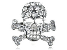 Halloween Silvery Tone Crystal Rhinestone Death Skull Bone Cross Biker Ring Band