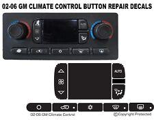 Chevrolet GM AC Climate Control Button Decals Sierra Yukon Tahoe 03-06
