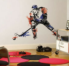 """HOCKEY CHAMPION PLAYER wall stickers MURAL 9 decals 42"""" men's boy's sports puck"""