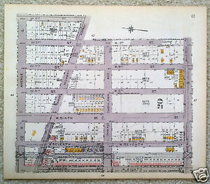 Original 1922 Map of Brooklyn. Avenues Q R & S at W 2nd to W Eighth St. Vintage