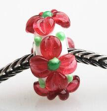 1PCS MURANO GLASS BEAD LAMPWORK Big Flowers Fit European Charm Bracelet9 QH010