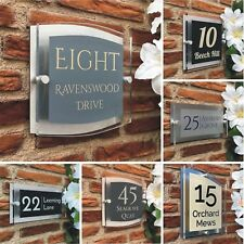 House Sign Plaque Door Number Street Acrylic Name Modern Personalised Address