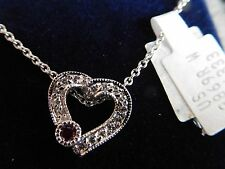 14K White Gold Women's Ruby and Diamond Heart Pendant Necklace NWT & Certificate