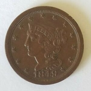 1849 Half Cent Large Date AU VF Coin