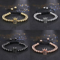 Charm Men's Crown CZ 4mm Beads Gold Plated Braided Macrame Bracelets Gift
