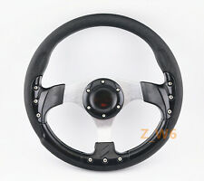 320MM JDM Battle Racing Style Black PVC Racing Steering Wheel 6 Bolt W/ Horn 005