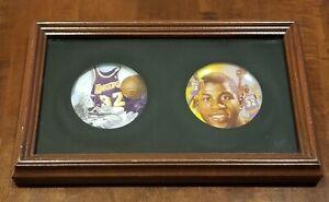 Magic Johnson 1991 & 1992 LA Lakers NBA Set of 2 Framed Mini Collector's Plates