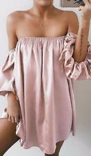 2018 Womens Sexy Summer Off Shoulder Tube Top Mini Dress Pop Loose Casual Dress