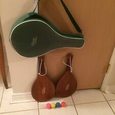 Minty! Vintage Vitesse Brookstone Handmade Usa Wood Paddles, Balls Case.