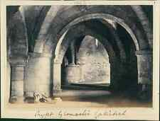UK, Crypt of the Gloucester Cathedral  vintage albumen print. Tirage albuminé