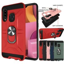 For Samsung Galaxy A20s Rotation Ring Phone Case Hybrid Kickstand Armor Cover