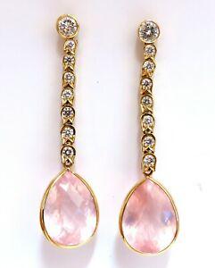 36.34ct Natural Rose Quartz Diamond Dangle Earrings 14 Karat Pink Flash