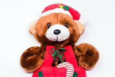 Vintage 1980's Santa's Best Teddy Bear in Overalls Christmas Stocking Candy Cane