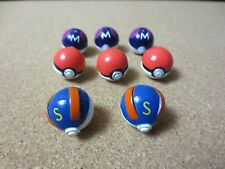Mix Lot of 8 Vintage Pokemon Trainer Balls about 1 inch round Ash Misty (PG1246)