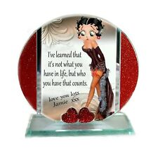 Betty Boop, Personalised Cut Glass Plaque, Red Hearts Limited Edition  #8