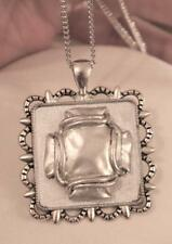 Raised Matte Finish Roped Maltese Inset Scalloped Rim Square Silver Necklace