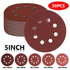 50pcs 5Inch 8 Hole Hook and Loop Sanding Discs Sandpaper 800 1000 1200 2000 Grit