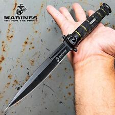 """12"""" Extra Large Usmc Marines Spring Assisted Open Folding Pocket Knife Stiletto"""