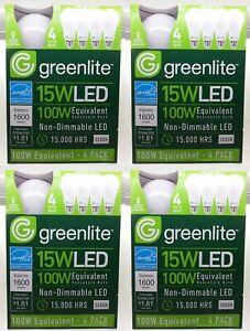 Lot of 16 Bulbs 4x 4pks 15w Greenlite LED 100 Watt Equivalent 3000k Non Dimmable