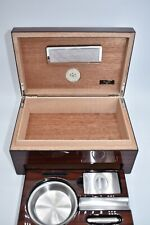 ANGELO HUMIDOR SET HOLD 10 CIGARS METAL/WOOD ASHTRAY CIGAR CUTTER PUNCH CUTTER