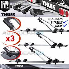 3 x Thule FreeRide 532 Car Roof Mount Cycle Carrier Bike Rack + T-Tracks + Locks