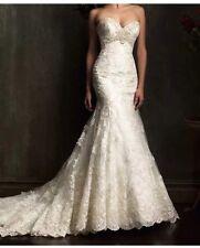 Vestido De Novia RU Nuevos De Encaje Blanco/Marfil Sirena Vestido de Boda Talla 6-18