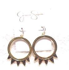 Jessica Simpson Gold/Black Design Drop Earrings