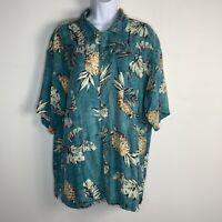 Island Shores Mens Shirt Sz XL Blue Green Pineapples Hawaiian Button Front EB21
