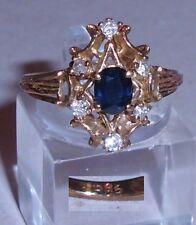 Ring aus 585er Gold mit Saphir und Zirkonia, Gr. 55, Ø  17,5 mm (da3773)