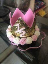 Baby Half birthday (6 Mts) Shiny Hat Crown Headband Tiara