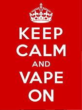 Keep Calm and vape on metal Aluminium Sign / rda rta vaping ecig