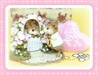 ❤️Wee Forest Folk Mousie Comes A-Calling FS-03 1990 Pink Flowers Couple Mice❤️