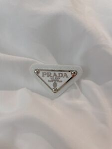 Prada Classic Triangle Logo Silver Plate in White with Leather