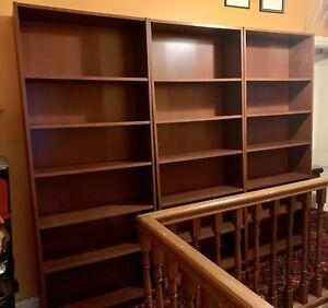 3 IKEA BILLY BOOKCASES IN BROWN ASH VENEER AS NEW