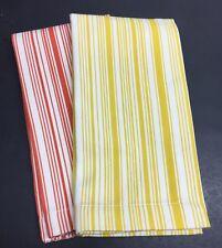 """2pc Williams Sonoma Napkins Oversize 20"""" Stripes Yellow Orange"""