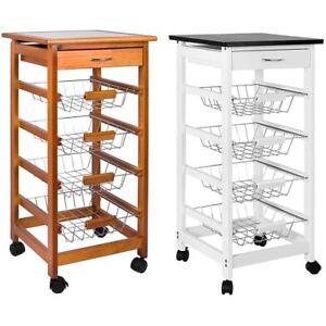 4 Tier Kitchen Trolley Cart Basket Storage Drawer Wood Portable Brown White