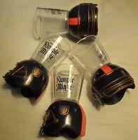 (4) Rumple Minze Football Theme Shot Glasses...Plastic Shot on a Helmet...NEW