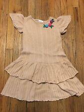 Hanna Andersson Girls Sweater Dress Beige Gabriella Knit Flowers Size 140 (10)