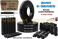 4 Pc 17mm Black BMW Hubcentric Wheel Spacers + Racing Stud Conversion Kit 12X1.5
