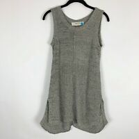 Sparrow Anthropologie Tunic Knit Top Small Gry Side Split Slits Sleeveless