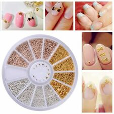 3D DIY Nail Wheel Metal Balls Beads Studs Silver Gold Rivet Nail Art Tips Decor