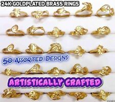 24k GoldPlated Wholesale Lots of 50 Pc Assorted Indian Brass Rings Bands 16-19mm