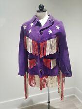 VTG 1960s Jimi HENDRIX style Fringe Leather Jacket, Red white & Blue Stars Retro