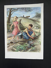 1960 Lithograph GOOD HELPERS Poster Handsaker Scott Artwork Lesson Plan