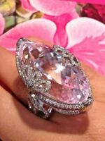 Fashion 925 Silver Pink Sapphire Cocktail Ring Wedding Bridal Women Jewelry#6-10