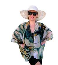 Plus SIze Kimono Jacket Coverup, Floral Top, Sheer Chiffon, Blue Orchid Blazer