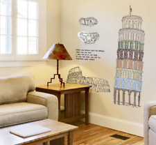 ITALY PISA TOWER REMOVABLE WALL STICKER VINYL QUOTE DECAL MURAL HOME ROOM DECOR